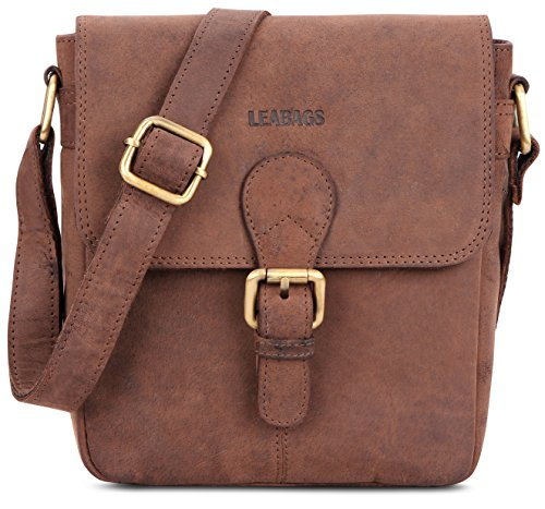 Price comparison product image LEABAGS Weston genuine buffalo leather city bag in vintage style - Nutmeg