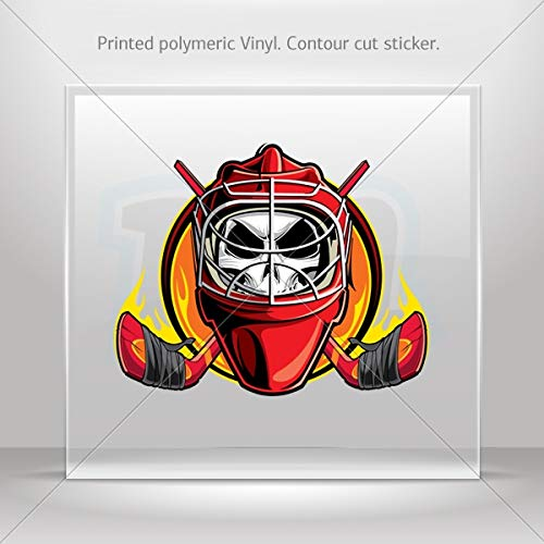 Skulls Various sizes Stickers Decal Skull Hockey Player Decoration Bike Motorbike Bicycle V (6 X 4.84 Inches)]()