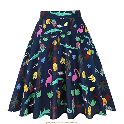 Pois Vintage Plus Jupe la Animal t Taille Taille Banana Floral Midi Noire s imprim Skater Jupes Femmes d't Jupe Femmes Haute 50 qXSXHTvw