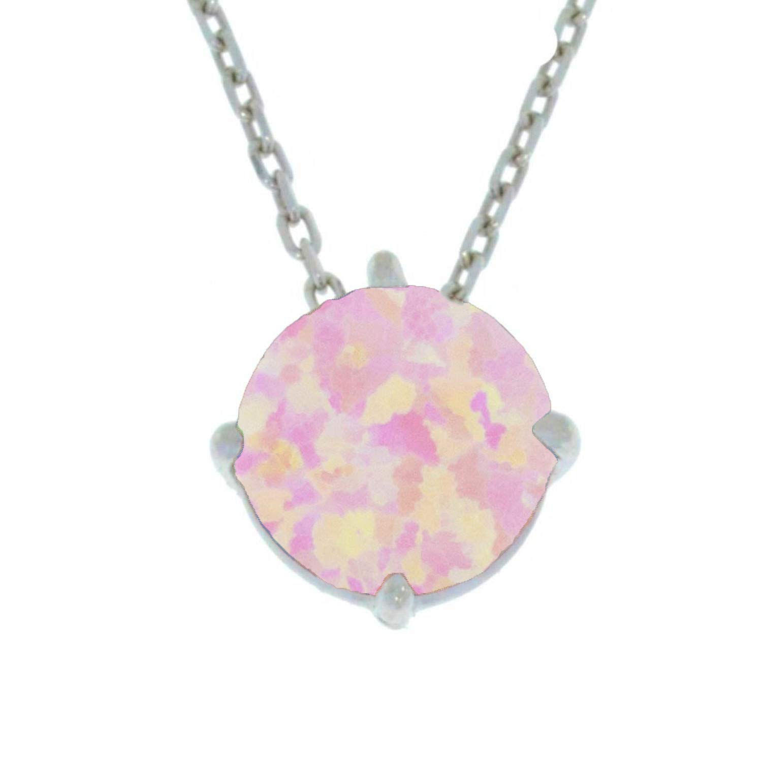 14k Yellow//White Gold 8mm Purple Simulated Opal Pendant Necklace
