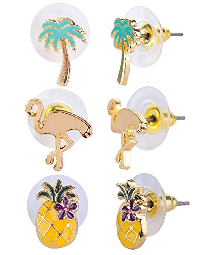 Price comparison product image Women's Tropical Enamel Palm Tree Flamingo Pineapple Set Pierced Stud Earrings, Gold-Tone
