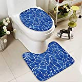aolankaili Soft Toilet Rug 2 Pieces Set blue trencadis broken tiles mosaic from Mediterranean in Valencia Spain Machine-Washable