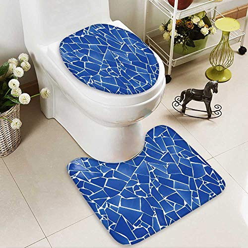 aolankaili Soft Toilet Rug 2 Pieces Set blue trencadis broken tiles mosaic from Mediterranean in Valencia Spain Machine-Washable by aolankaili