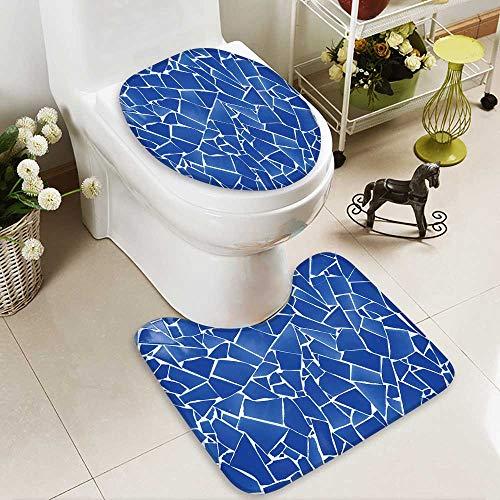 aolankaili Toilet carpet floor mat blue trencadis broken tiles mosaic from Mediterranean in Valencia Spain 2 Piece Shower Mat set by aolankaili