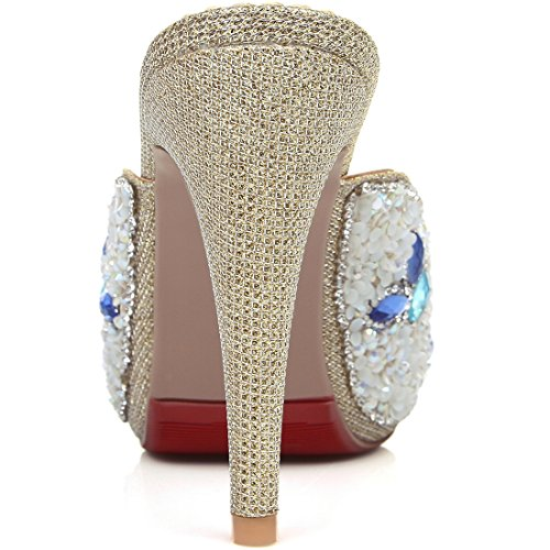 YE Women's Ladies Slip On High Heel Mule Peep Toe Platform Open Back Dress Sandals Gold wTDH9