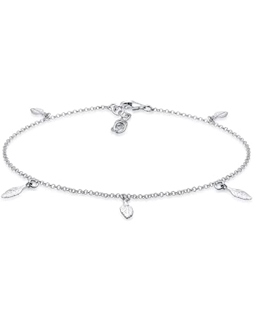 Baby Blue Synthetic Resin Bead Chain Anklet In 925 Sterling Silver Sales Of Quality Assurance Jewelry & Watches