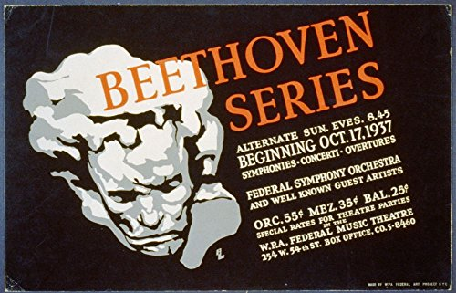 1937 Photo Beethoven series / BL. Poster showing bust portrait of Ludwig van Beethoven with text providing information about concert series. Location: New York (Beethoven Series)
