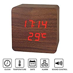 Zarsson Alarm Clock, Cool Wooden Clock Cube Wood-shaped LED Digital Clock for for Bedroom, Travel, Kid, Home, Office with Time, Calendar, Temperature and Voice Control (Red)