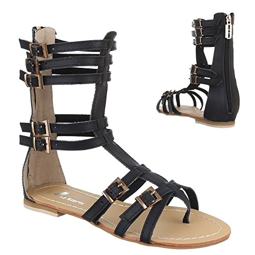 Sandales Sandalettes Design Noir Ital femme 5xYvEOw