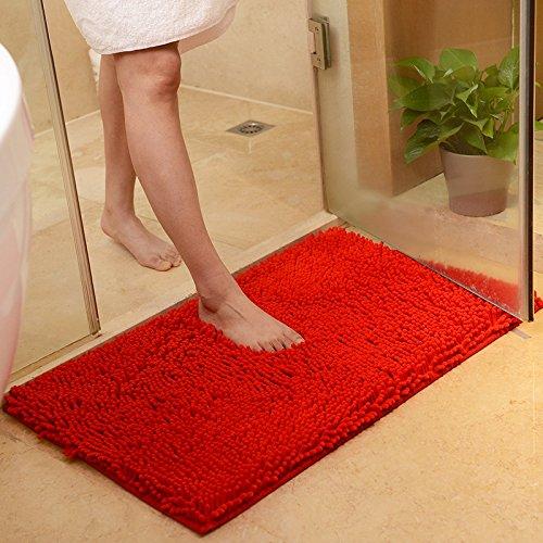 Bedroom Kitchen Living Room Rug Microfiber Bathroom Door Non-slip Floor Mats (red)