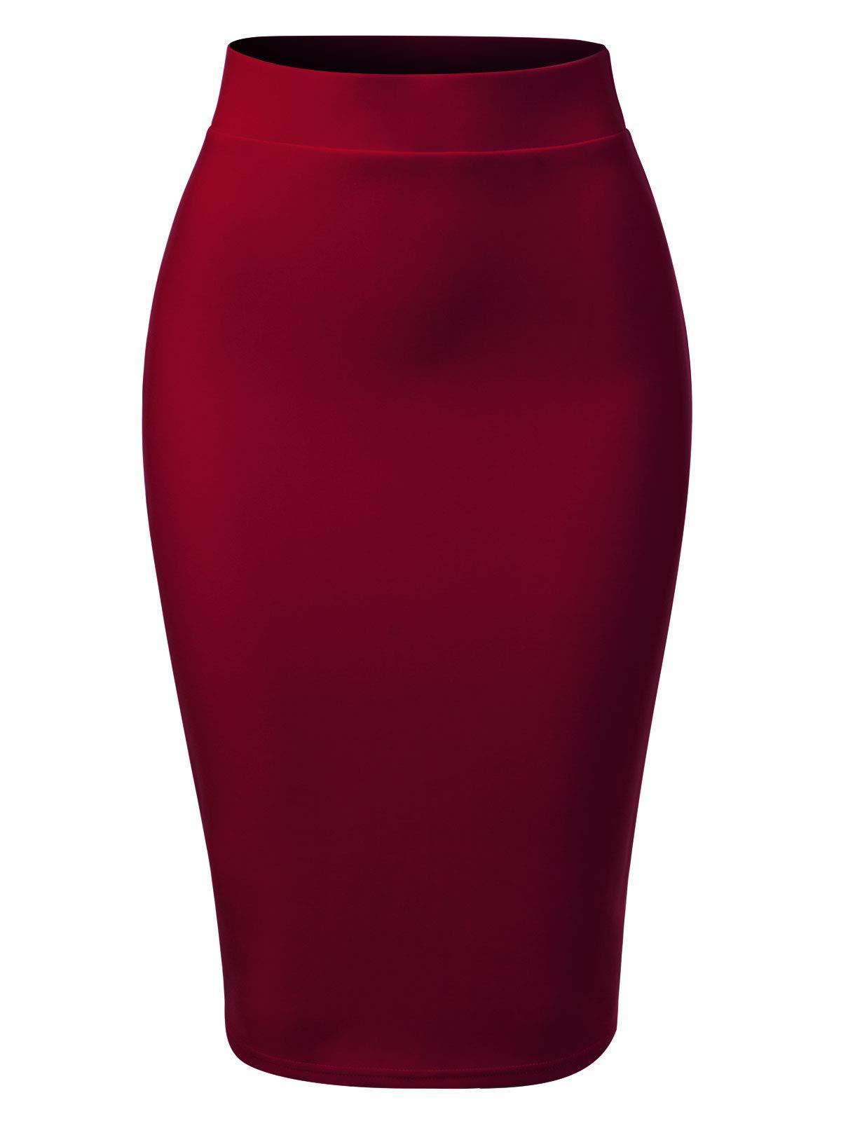 MixMatchy Women's Casual Classic Bodycon Pencil Skirt Burgundy 2XL