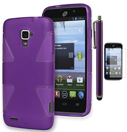 Rapido LTE Case - Bastex Heavy Duty Dynamic TPU Case - Soft Purple Snap On TPU Case Cover for ZTE Rapido LTE Z932C [Includes a Stylus and Screen - Cover Rapido Lte Zte Phone For