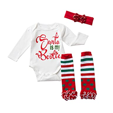 fa1d19fe8bef Amazon.com  Yokidi Newborn Christmas Onesies 0-24M Baby Girl Long ...