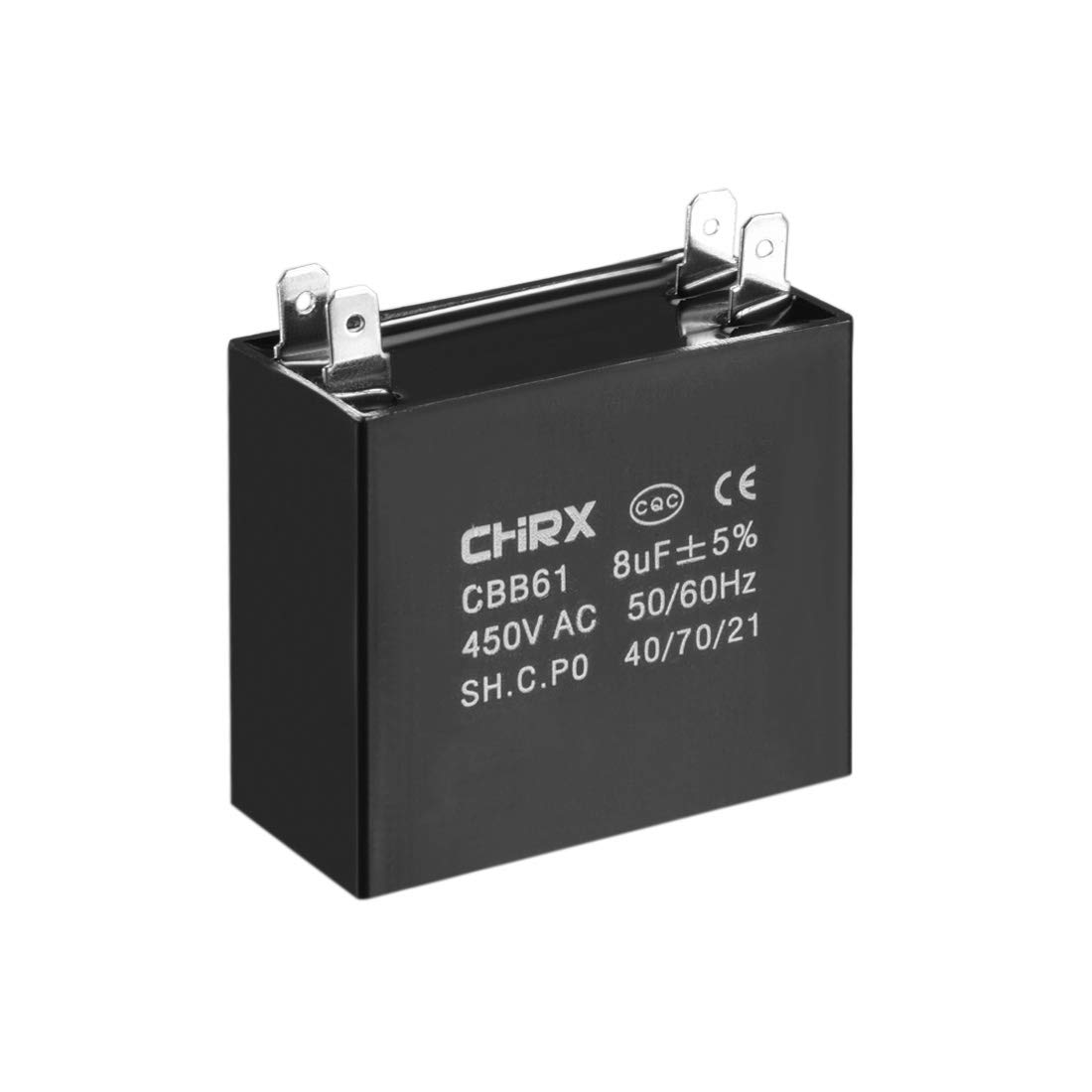 sourcing map CBB61 Run Capacitor 450V AC 8uF Doule Insert Metallized Polypropylene Film Capacitors for Ceiling Fan