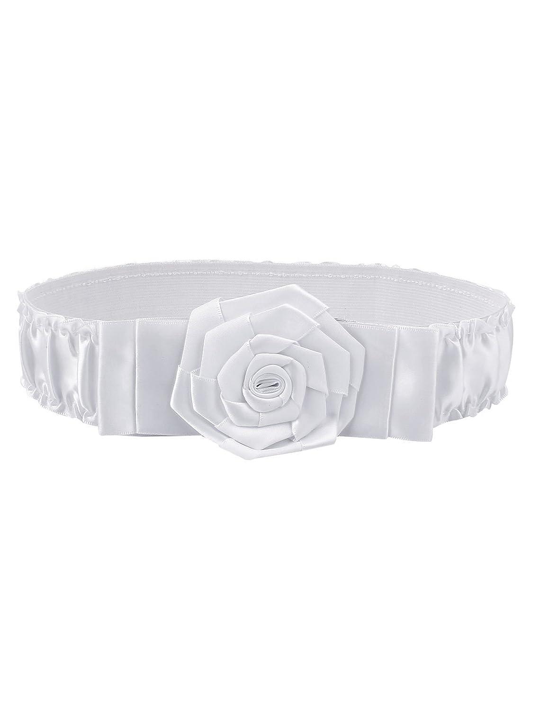 Lady Rose Flower Decor Metal Buckle Elastic Waist Belt Waistband White