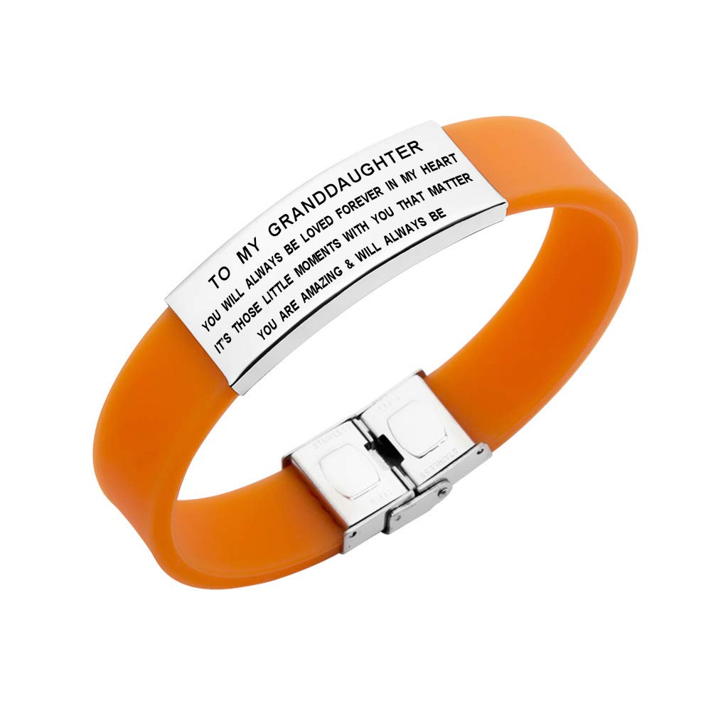 Freedom Love Gift to My Granddaughter You Will Always Be Loved Adjustable Bangle Bracelet Girls Jewelry (Orange)