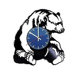Grizzly Bear Handmade Vinyl Record Wall Clock Fun gift Vintage Unique Home decor