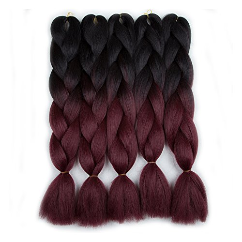 5 Pieces 2 Tone Ombre Braiding Hair Crochet Braids Synthetic Hair Extensions 24 Inch (Black/BUG#, (Yaki Braid)
