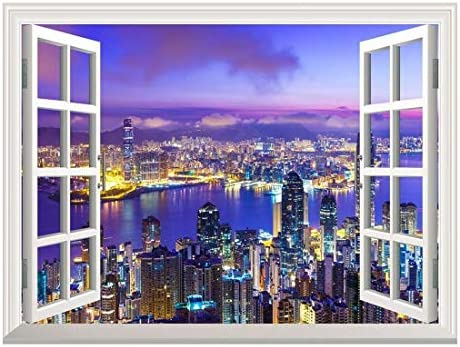 Removable Wall Sticker Wall Mural Beautiful City Skyline at Evening Creative Window View Wall Decor
