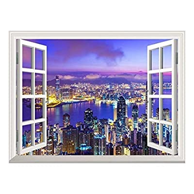Created By a Professional Artist, Stunning Handicraft, Removable Wall Sticker Wall Mural Beautiful City Skyline at Evening Creative Window View Wall Decor