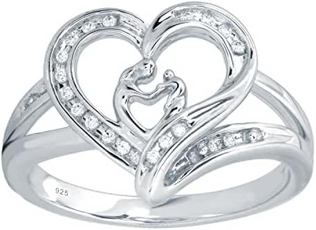 Sterling Silver 1/10cttw Diamond Mother and Child Heart Ring
