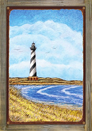 Cape Hatteras Lighthouse Pictures (Northwest Art Mall Cape Hatteras Lighthouse Rustic Metal Print on Reclaimed Barn Wood by David Linton (12