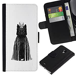 NEECELL GIFT forCITY // Billetera de cuero Caso Cubierta de protección Carcasa / Leather Wallet Case for Samsung Galaxy S4 Mini i9190 // Lobo oscuros bosques