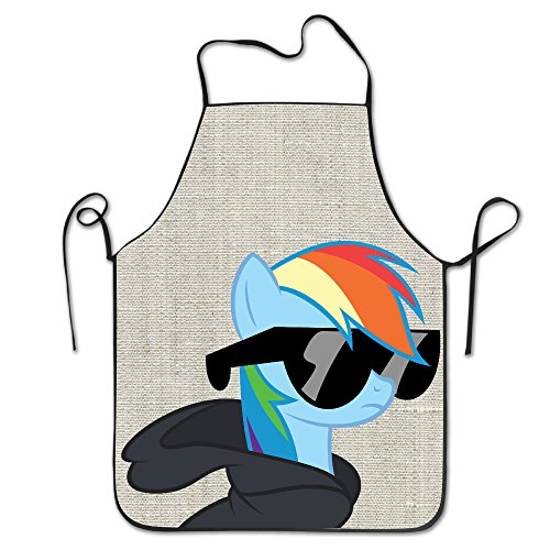 Aip-Yep Rainbow Horses And Glasses Custom Easy Care Cooking No Pocket Bib Apron For Adult's Black