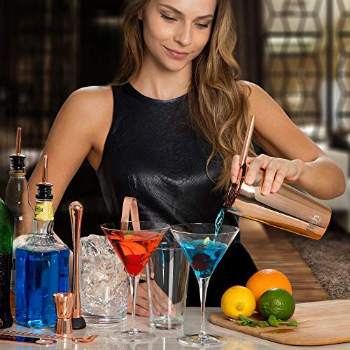 Copper Cocktail Shaker Set​ for Bar Kit, Stainless Steel ​& Glass - ​Complete​ 15 Piece ​Boston Bartending Mixology Kit​ with Tin Shakers, Strainers, Jigger, Muddler, and Accessories for Mixed Drinks by Fifth Label (Image #10)