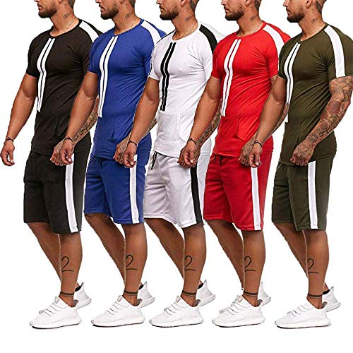 2PCS Men Sport Set Spring Summer Casual Short Sleeve Tops Short Pants Fitness Tracksuit Outfits (Red, XXL)
