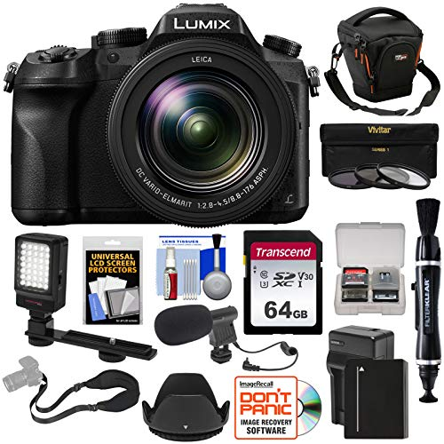 Panasonic Lumix DMC-FZ2500 4K Wi-Fi Digital Camera with 64GB Card + Battery & Charger + Case + LED Video Light + Microphone + Strap Kit (Microphone For Camera Panasonic)