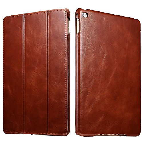 iPad Air 2 Case, [Vintage Classic Series] [Genuine Leather] Folio Flip Leather Case [Stand Feature] [Magnetic Closure] with Smart Cover Auto Sleep/Wake Function for Apple iPad Air 2/iPad 6