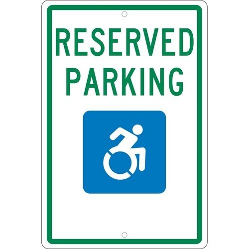 NMC TMS326H, 18''x12'' All Purpose Aluminum Handicapped Graphic Reserved Parking Sign, Pack of 12 pcs