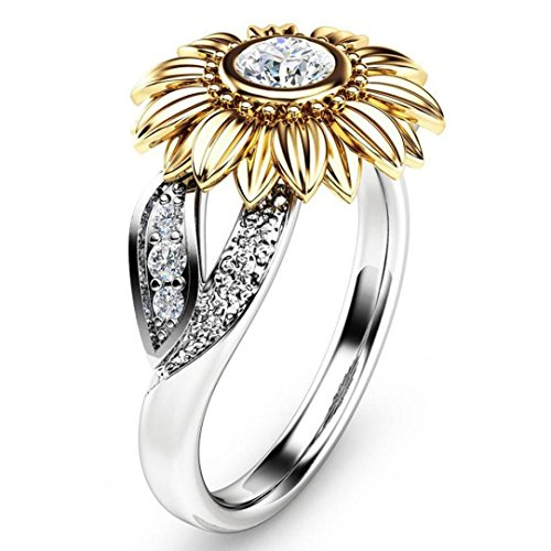 BEUU 2018 New Products Sunflower Flower Color Zircon Ring Exquisite Women'S Two Tone Silver Floral Round Diamond Red Jewel Rings For Women Jewelry Ring Women'S Fashion (Silver, (Round Brilliant Bead Set Band)
