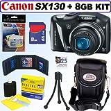 Canon Powershot SX130 IS 12.1MP Digital Camera + 8GB Accessory Kit