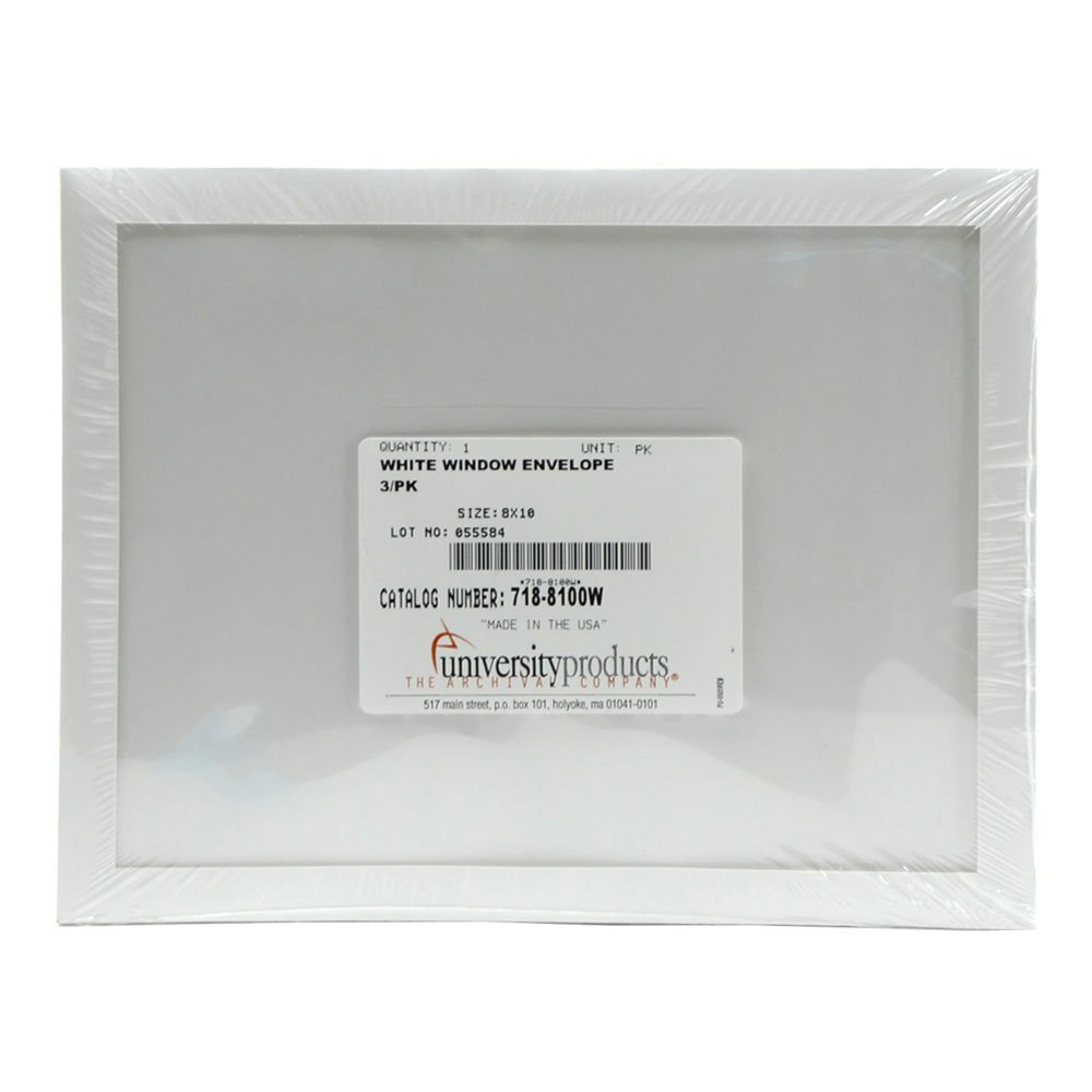 Lineco Window Envelope, Archival Polyester, 8 X 10 inches, White, Pack of 3 (718-8100W)