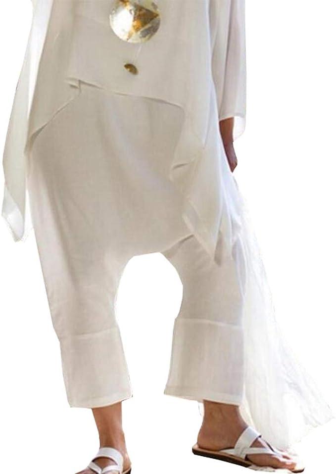 Nuovo da DONNA in Cotone Misto Lino Alla Moda Gamba Larga Stile Pantaloni