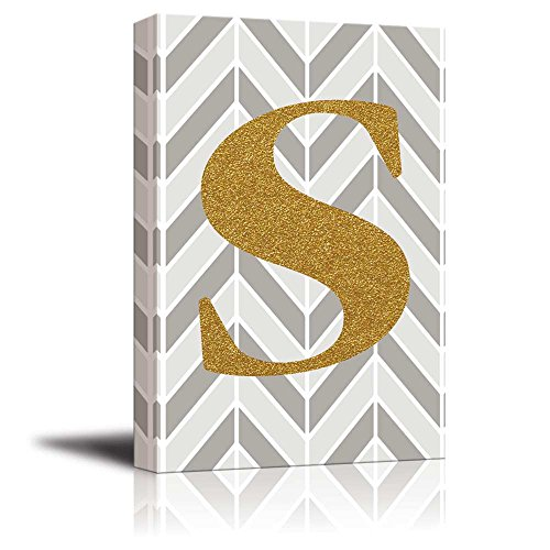 The Letter S in Gold Leaf Effect on Geometric Background Hip Young Art Decor