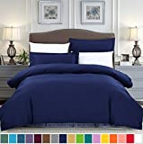King Size Duvet Covers SUSYBAO 3 Pieces Duvet Cover Set 100% Natural Cotton King Size 1 Duvet Cover 2 Pillow Shams Navy Blue Hotel Quality Soft Breathable Fade Stain Wrinkle Resistant Easy Care with Zipper Ties
