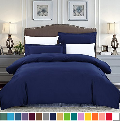Vintage Iron Brush (SUSYBAO 3 Pieces Duvet Cover Set 100% Cotton Queen Size 1 Duvet Cover 2 Pillow Shams Navy Blue Hotel Quality Ultra Soft Breathable Hypoallergenic Fade Stain Wrinkle Resistant with Zipper Ties)