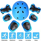 Kids Protective Gear Set, Sport Safety Equipment Child Helmet Knee Elbow Pads Wrist Guards Adjustable for Skating Skateboard and Other Sports Outdoor Activities, 7 Packs