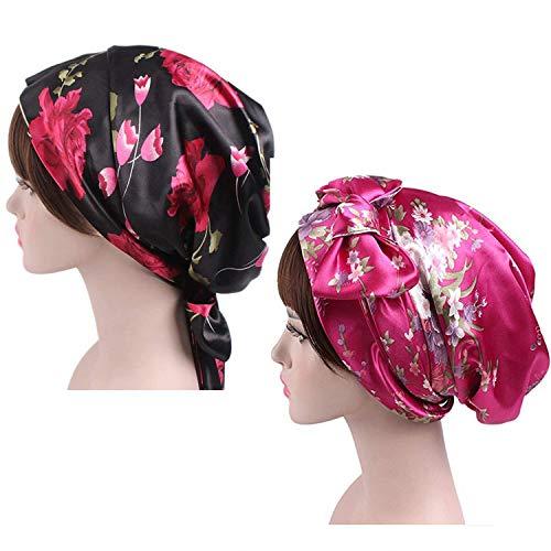 Satin Silk Long Scarf - Zando Women Night Sleep Cap Slouch Hats Satin Head Hair Scarf Bonnet Slouch Long Silk Beanie for Hair Loss 2 Pack Black & Rose Red Flower