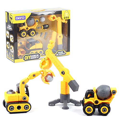 Pull Back Vehicles Toys, Build Set of 2+1 Take Apart Construction Trucks Assembly Toy, Kids Development Early Educational Toys Set 【Shipping from USA】