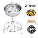 Steamer Basket With Egg Steamer Steamer Rack for Instant Pot and Pressure Cooker Accessories, Vegetable Steam Rack Stand. Fits Instant Pot 5,6,8 qt Pressure Cooker, Stainless Steel, 2 Pieces (Steamer Basket With Egg Rack)