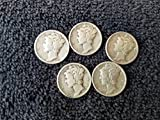 5 Various Mint Marks Mercury Dimes VG-08 and better