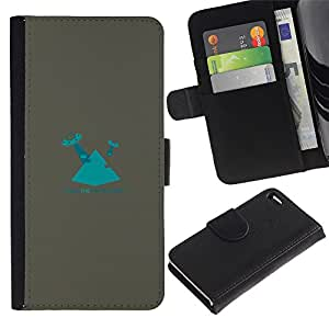 EJOY---Tirón de la caja Cartera de cuero con ranuras para tarjetas / Apple Iphone 4 / 4S / --Azul Pirámide