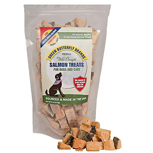 Green Butterfly Brands Salmon Dog Treats - Made in USA Only - 1 Ingredient: Wild Caught American Salmon - Freeze Dried Raw, Human Grade - No Additives or Preservatives - Grain Free Cat Snack, 5 Ounces -