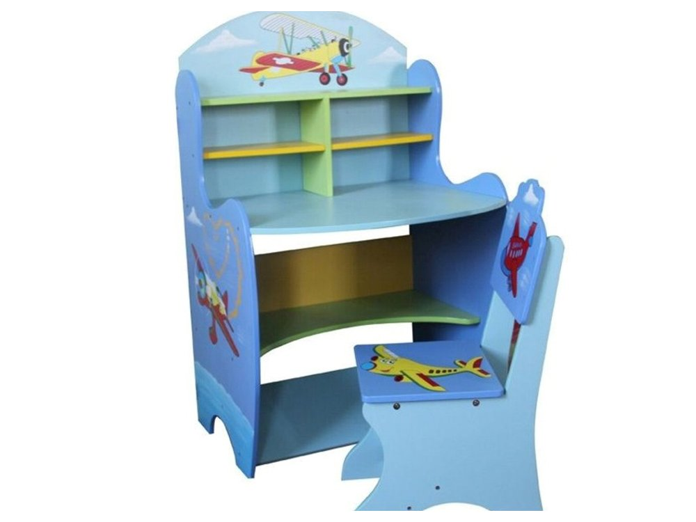 Childrens Study Desk Table And Chair Set Boys Kids Drawing Reading Shelf Antyki24