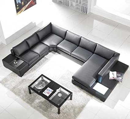 Amazon.com: T35 Modern Black Sectional Sofa with 3 Headrests ...
