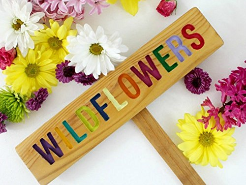Wildflowers Natural Wood - Wildflowers Colorful Garden Sign, Garden Decor, Natural Garden, Cedar Wood Routed Sign, Custom Garden Sign, Personalized Garden Marker
